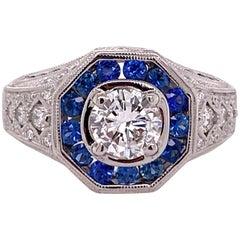 Diamond Sapphire Deco Style 14 Karat White Gold Ring G/VVS