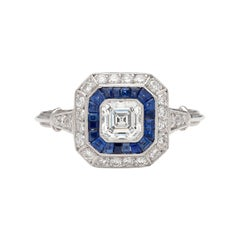 Diamond Sapphire Deco Style Ring