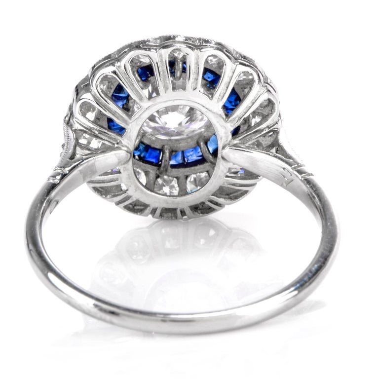 Diamond Sapphire Double Halo Platinum Cocktail RIng In Excellent Condition For Sale In Miami, FL