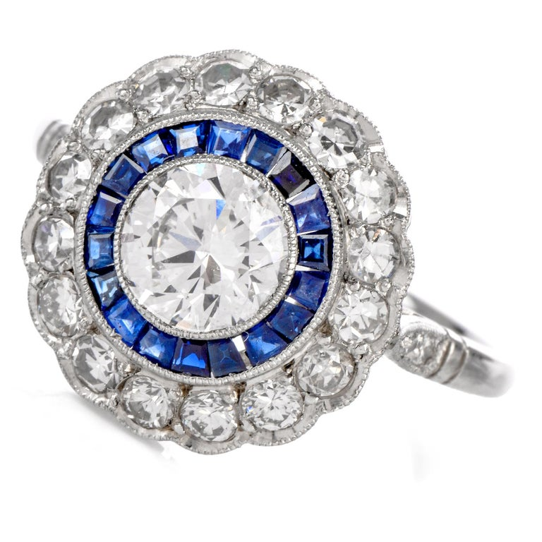 Women's or Men's Diamond Sapphire Double Halo Platinum Cocktail RIng For Sale