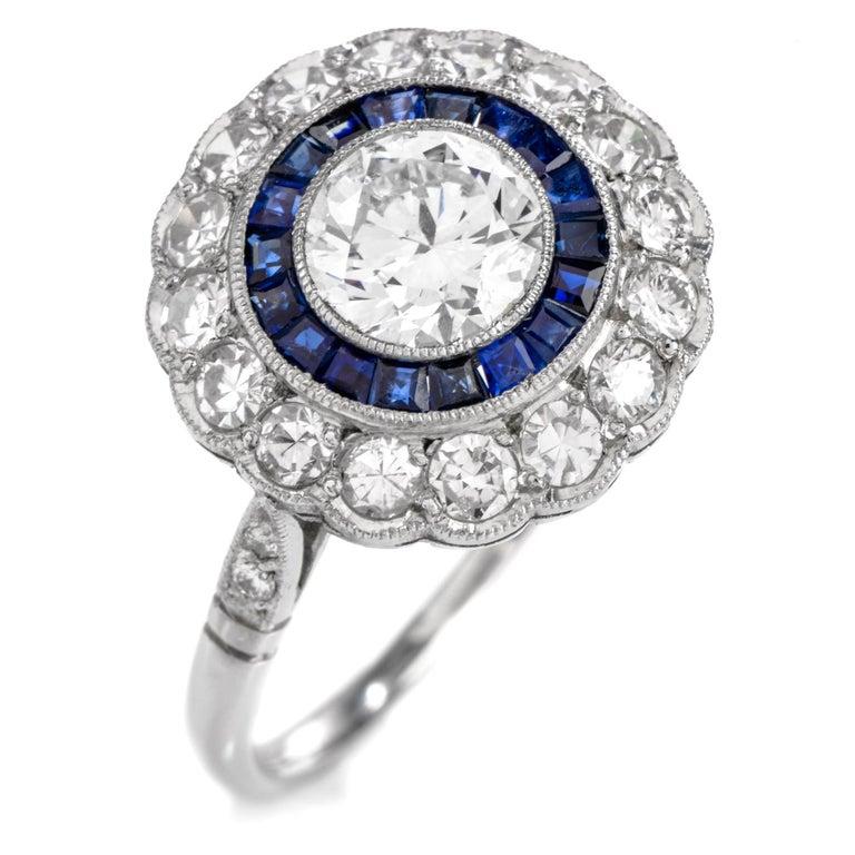 Diamond Sapphire Double Halo Platinum Cocktail RIng For Sale 1