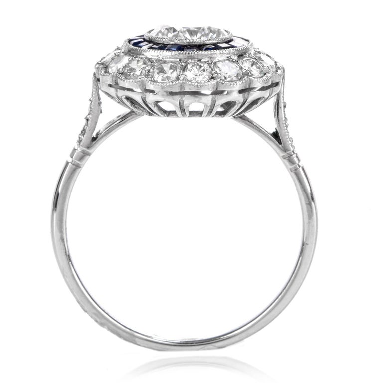 Diamond Sapphire Double Halo Platinum Cocktail RIng For Sale 2
