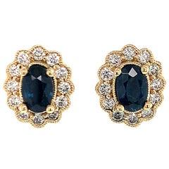Diamond Sapphire Earrings 18 Karat 2.11 Carat Stud Certified