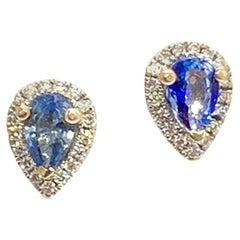 Diamond Sapphire Earrings 18k White Gold Stud 0.60 TCW Certified