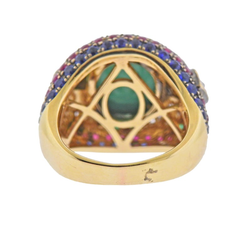 Round Cut Diamond Sapphire Emerald Ruby Turquoise Gold Ring For Sale