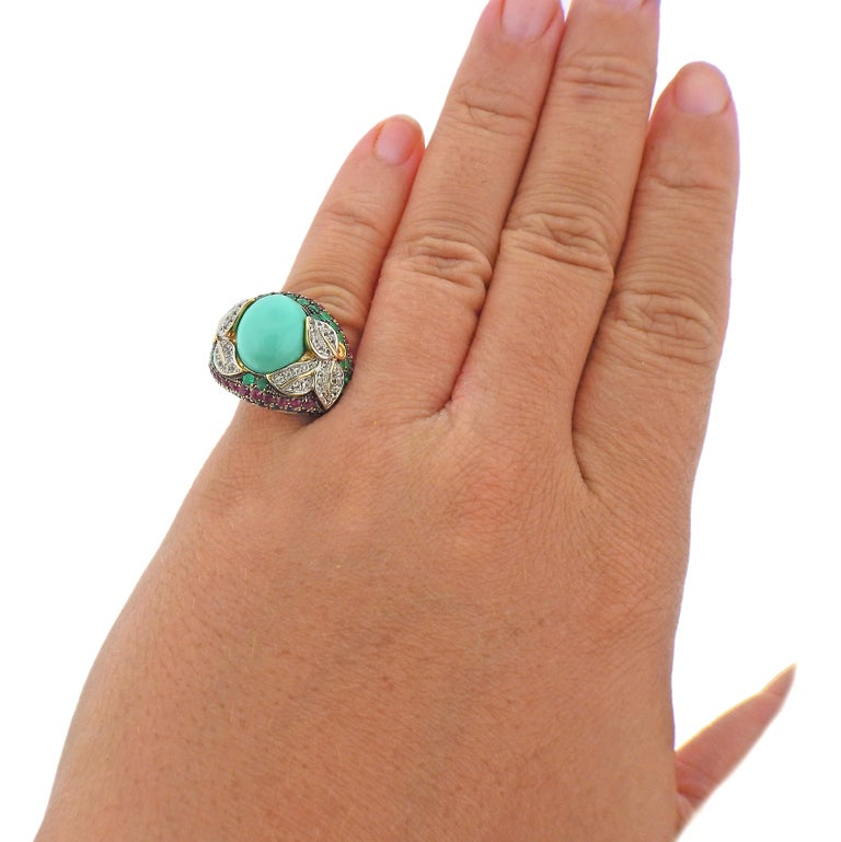 Diamond Sapphire Emerald Ruby Turquoise Gold Ring In Excellent Condition For Sale In New York, NY