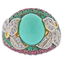 Diamond Sapphire Emerald Ruby Turquoise Gold Ring