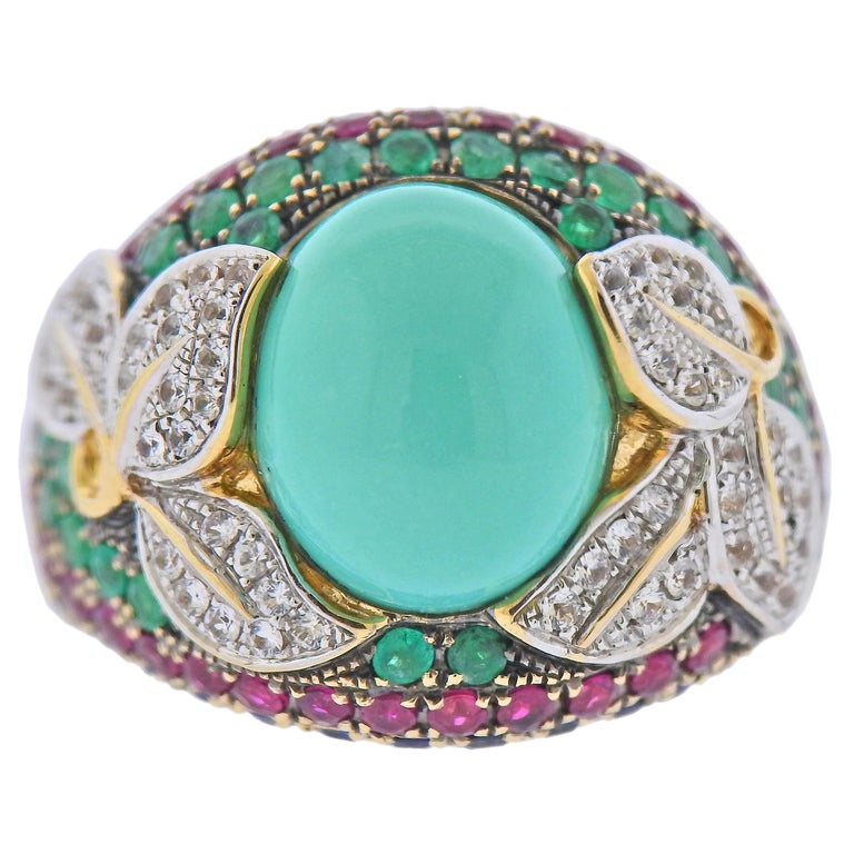 Diamond Sapphire Emerald Ruby Turquoise Gold Ring For Sale
