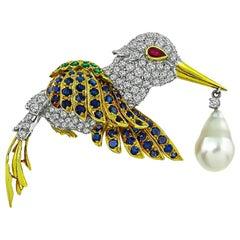Diamond Sapphire Emerald South Sea Pearl Bird Brooch