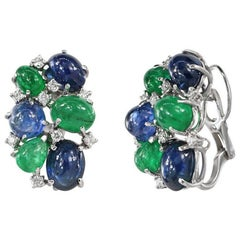 Diamond Sapphire Emerald White Gold 18 Karat Earrings