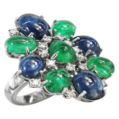 Diamond Sapphire Emerald White Gold 18 Karat Ring