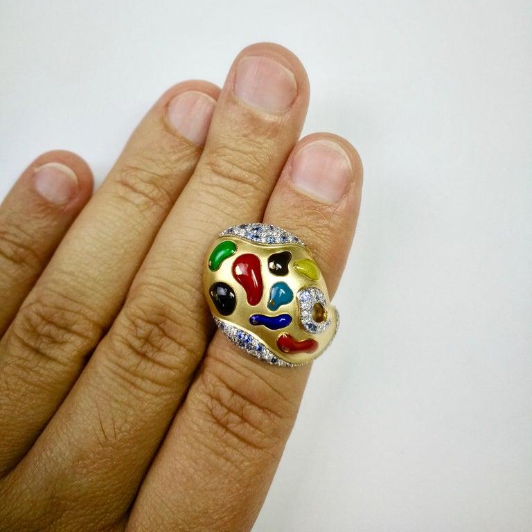 Diamond Sapphire Enamel 18 Karat Yellow Gold Palette Ring For Sale 2