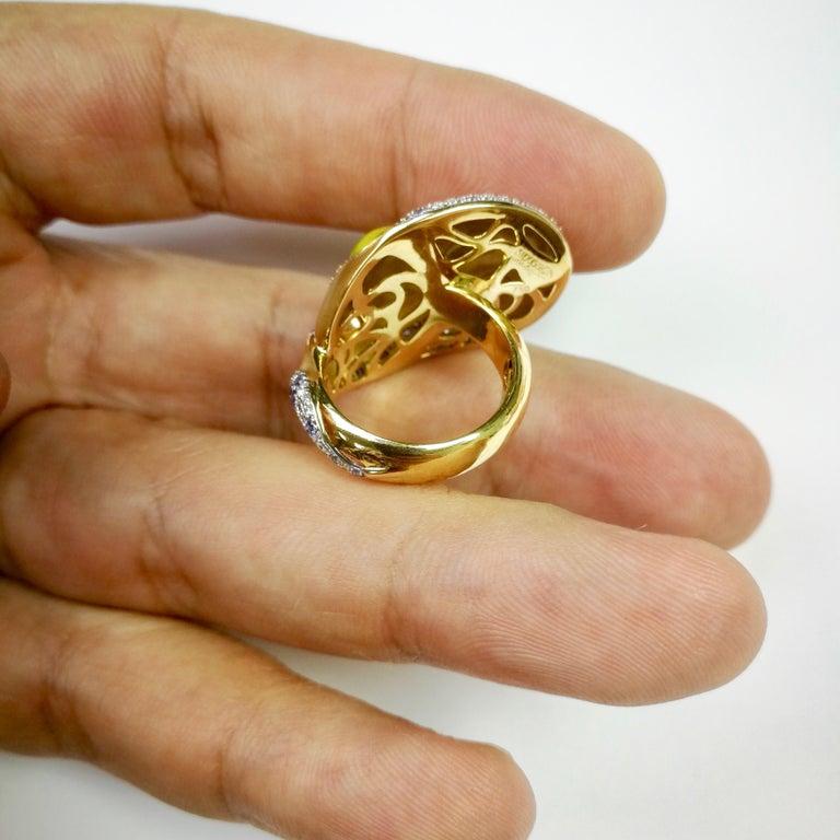 Diamond Sapphire Enamel 18 Karat Yellow Gold Palette Ring For Sale 3