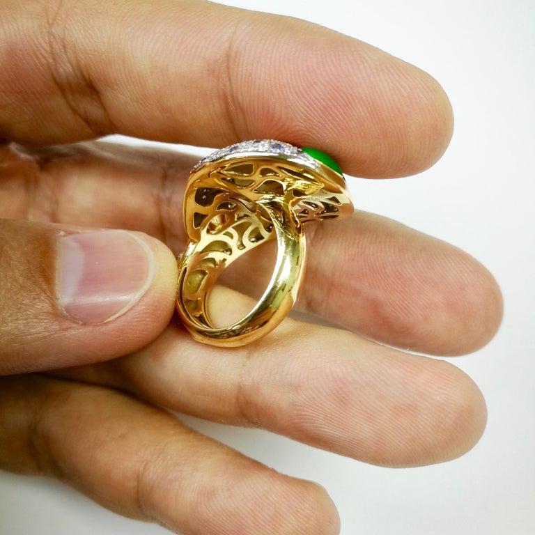 Diamond Sapphire Enamel 18 Karat Yellow Gold Palette Ring For Sale 4