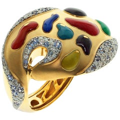 Diamond Sapphire Enamel 18 Karat Yellow Gold Palette Ring
