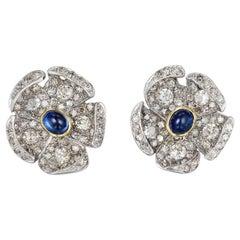 Diamond Sapphire Floral Ear Clip