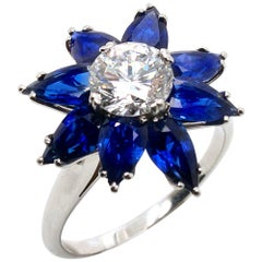 Diamond Sapphire Flower Cocktail Ring by Kern, 1980s