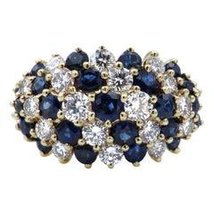 Diamond Sapphire Gold Cocktail Ring