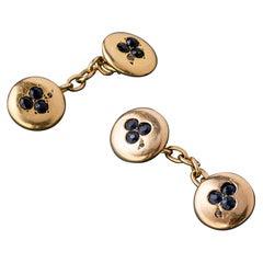 "Diamond Sapphire Gold Cufflinks ""Clover"" Late 19th Century"