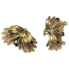Diamond Sapphire Gold Leaf Earrings
