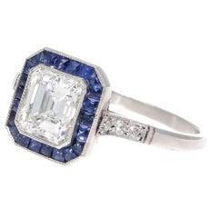 Diamond Sapphire Halo Platinum Engagement Ring