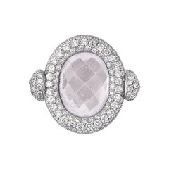 Diamond Sapphire Kunzite Rotating Ring de Grisogono 18 Karat White Gold