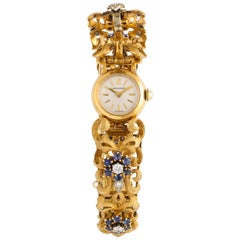 Diamond Sapphire Movado Yellow Gold Watch Bracelet