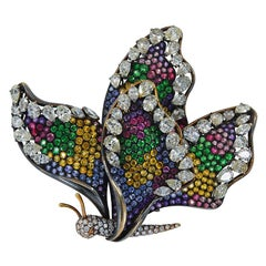 Diamond Sapphire Multicolor Pave Gold Butterfly Brooch