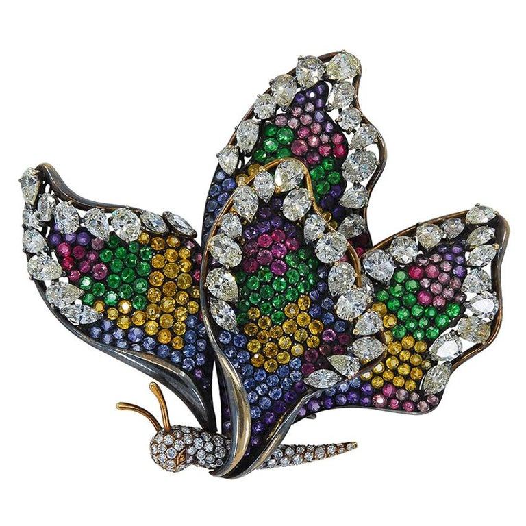 Diamond Sapphire Multi-Color Pave Butterfly Brooch For Sale