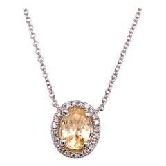 Diamond Sapphire Necklace 18k Gold Certified