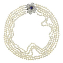 Diamond Sapphire Pearl Gold Multi Strand Necklace
