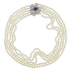 Diamond Sapphire Pearl Gold Multi Strand Necklace