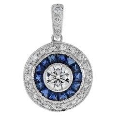 Nova Art Deco Style Round Brilliant Diamond Sapphire Pendant 18K White Gold