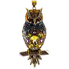 Diamond Sapphire Peridot Tourmaline Aquamarine Yellow Gold Owl Pendant Necklace
