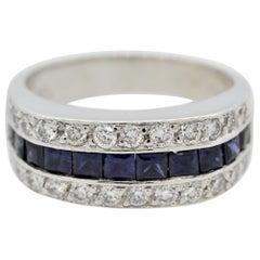 Diamond Sapphire Platinum Band Ring
