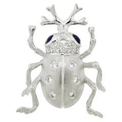 Diamond Sapphire Platinum Beetle Pin Brooch