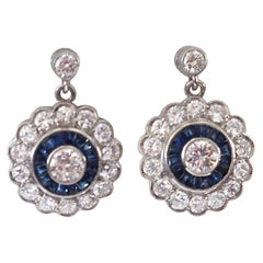 Diamond Sapphire Platinum Cluster Earrings