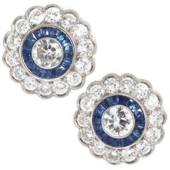 Diamond Sapphire Platinum Halo Earrings