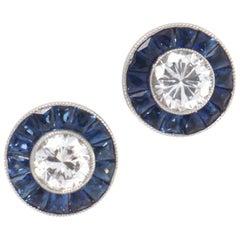 Diamond Sapphire Platinum Stud Earrings