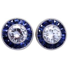 Diamond Sapphire Platinum Studs
