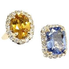 Diamond Sapphire Ring 14k Yellow Gold 4.65 TCW Women Certified