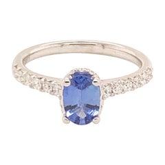 Diamond Sapphire Ring 18k Gold Women 1.725 TCW Certified