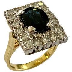 Diamond/ Sapphire Ring, 18 Karat White and Yellow Gold, London, 1979