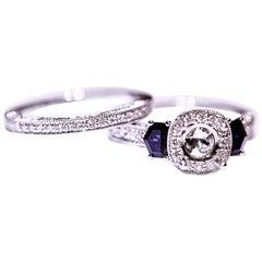 Diamond Sapphire Ring Diamond Wedding Band 18 Karat White Gold 1.20 Carat
