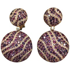 Diamond Sapphire Rose Gold 18 Karat Chic Clip-On Earrings