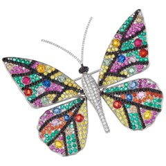 """Diamond, Sapphire, Ruby and Emerald in White Gold """"Tremblant Butterfly"""" Brooch"""