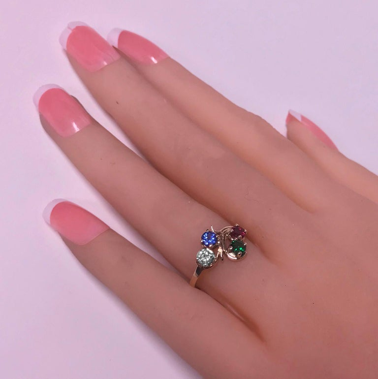 Diamond, Sapphire, Ruby and Tsavorite Gold Ring For Sale 1