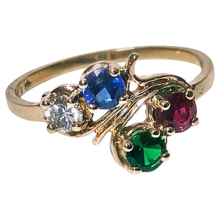Diamond, Sapphire, Ruby and Tsavorite Gold Ring For Sale