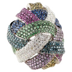 Diamond Sapphire Ruby Cocktail Ring Precious Stones 18 Karat Gold 24.5g