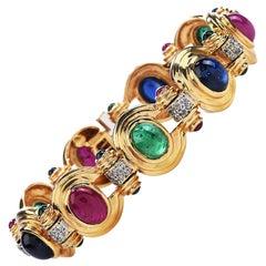Diamond Sapphire Ruby Emerald 14 Karat Gold 1980s Oval Link Bracelet